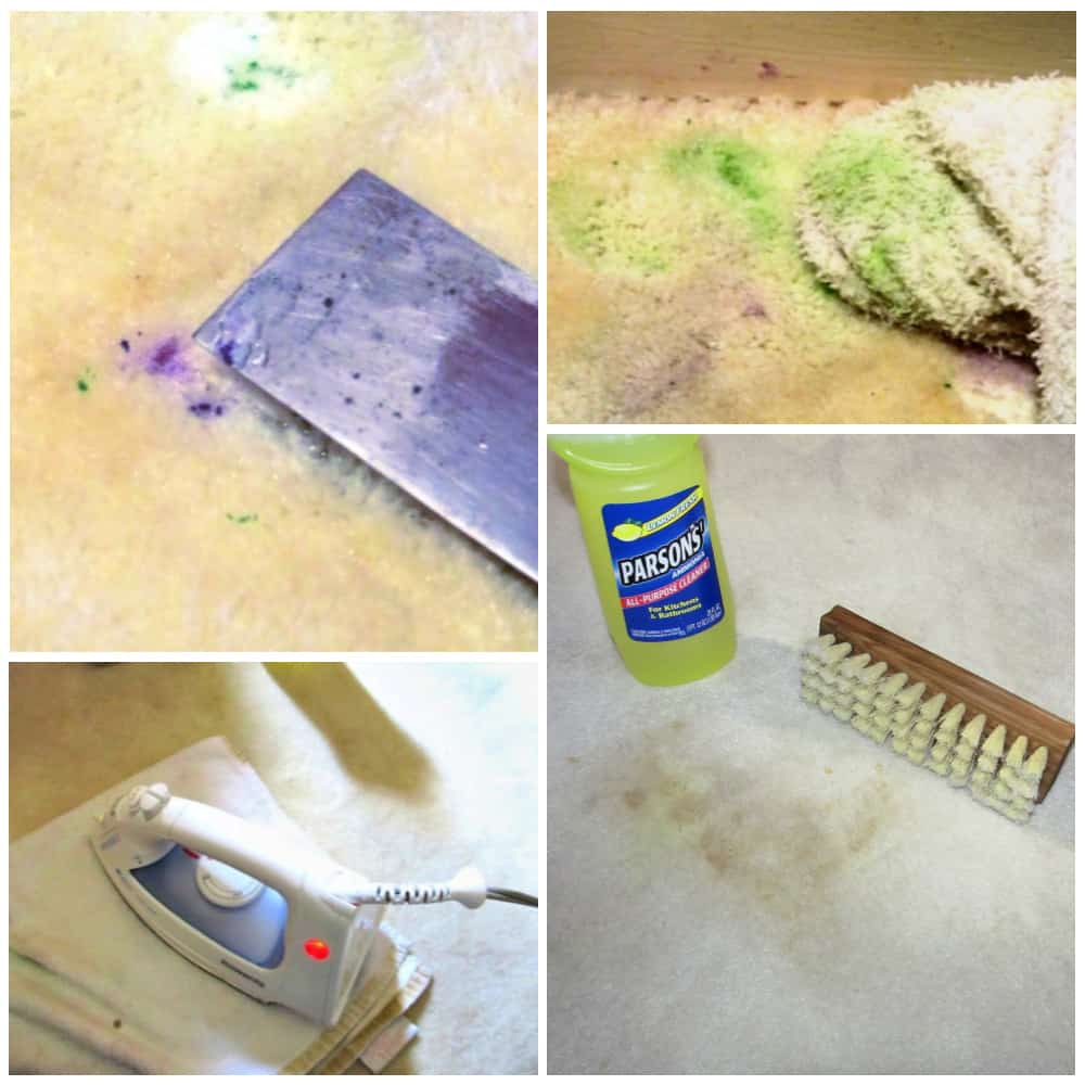 Using putty knife, white rags, and iron to get dried paint and other stains out of carpet