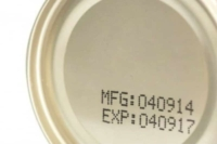 bottom of canned food with expiration date stamp