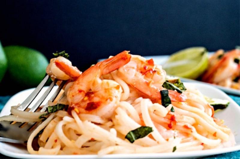 Easy Homemade Shrimp Pad Thai Recipe on a plate