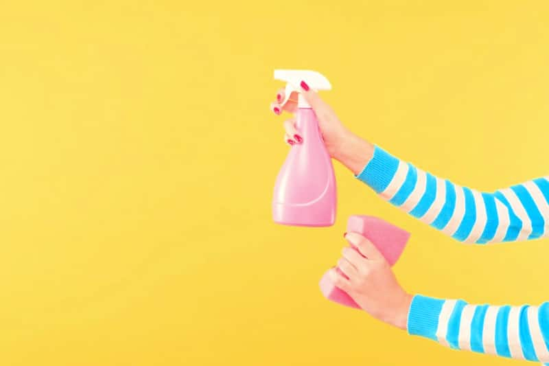 Picture of woman's hands holding a spray bottle and sponge to speed clean house