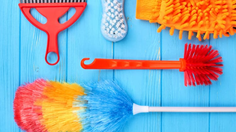 Overhead of basic cleaning tools: an electrofiber duster, toilet brush, scrub brush and dusting glove