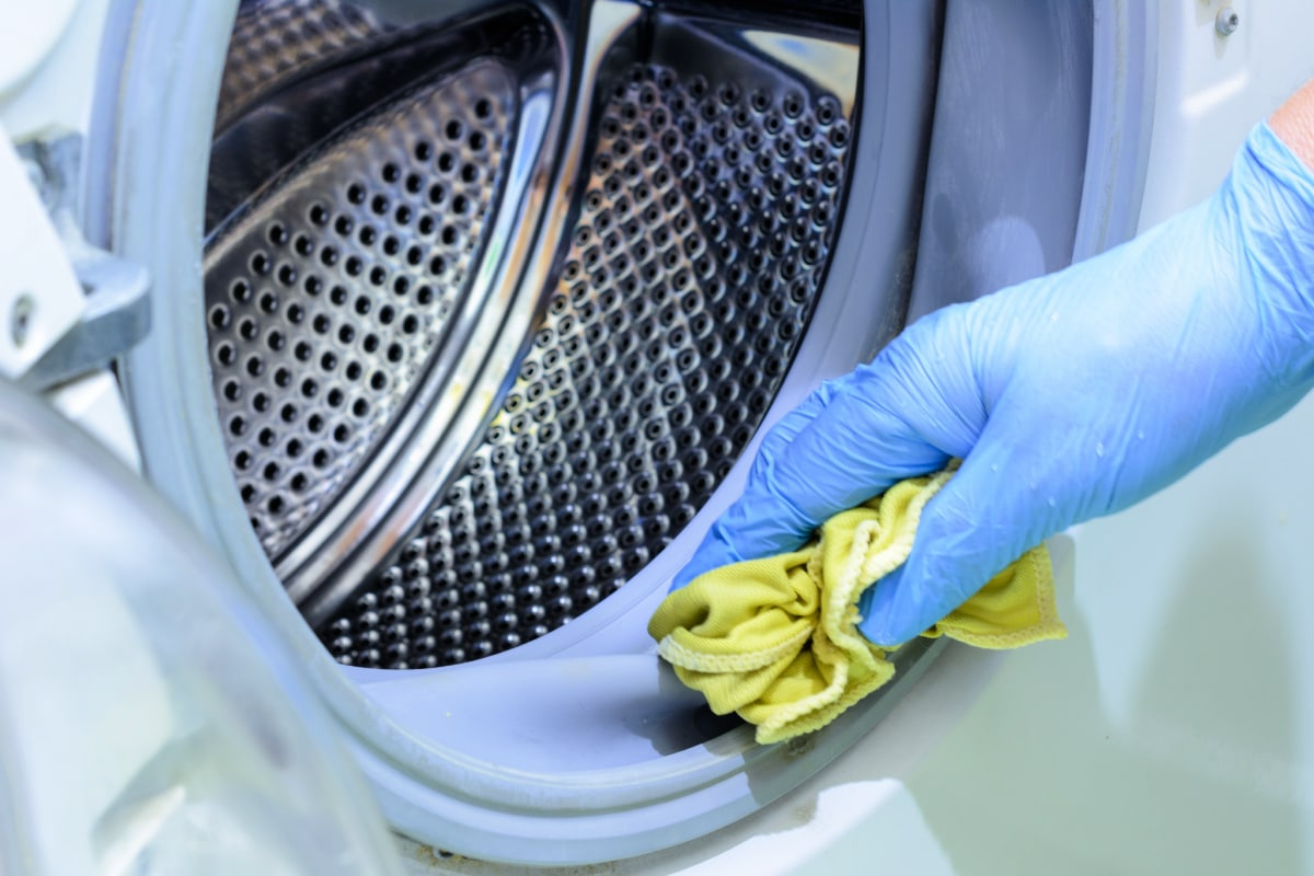Closeup of hand in rubber glove using a cloth to wipe the rubber gasket of a washing machine