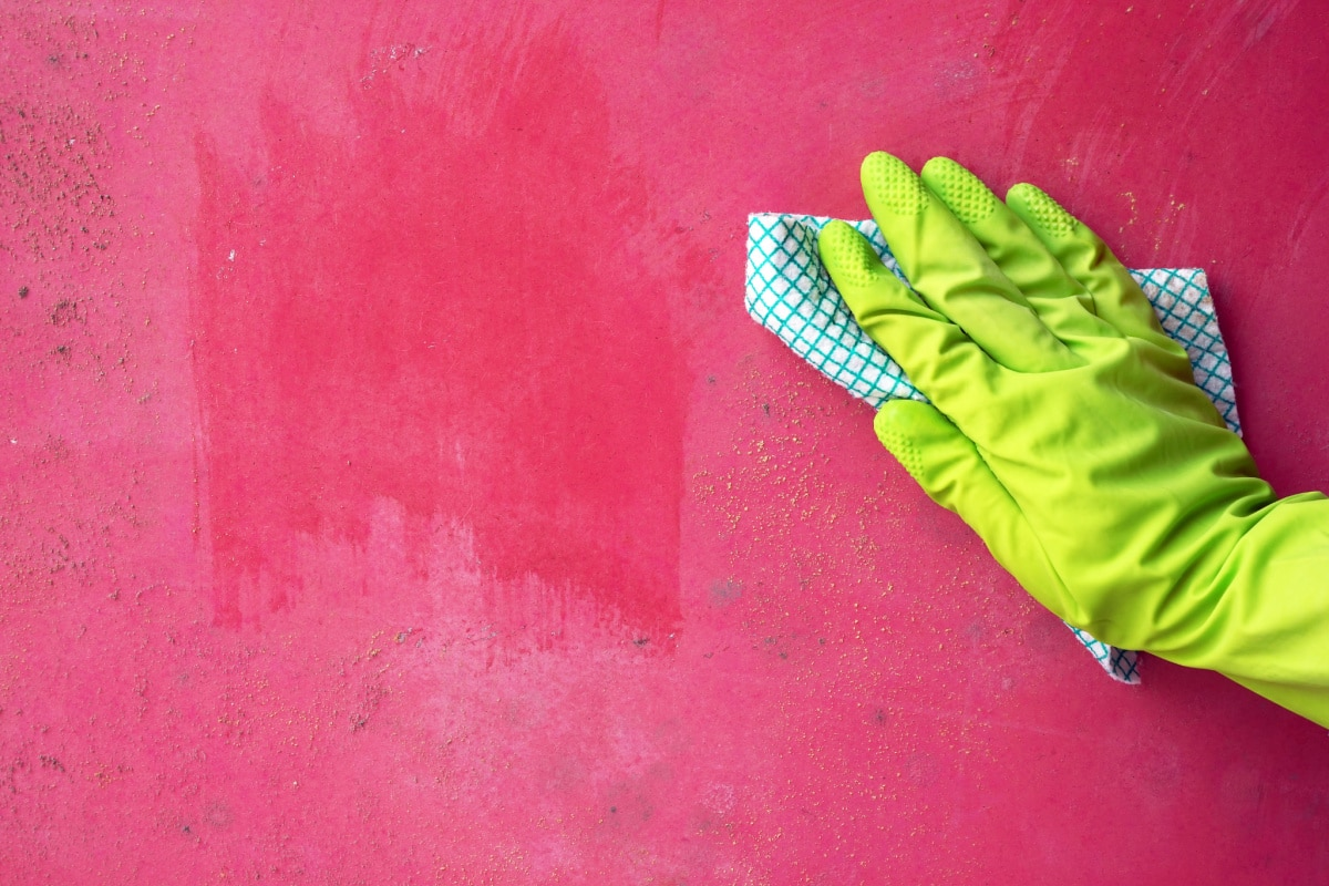 Hand in rubber glove cleaning mold on painted wall