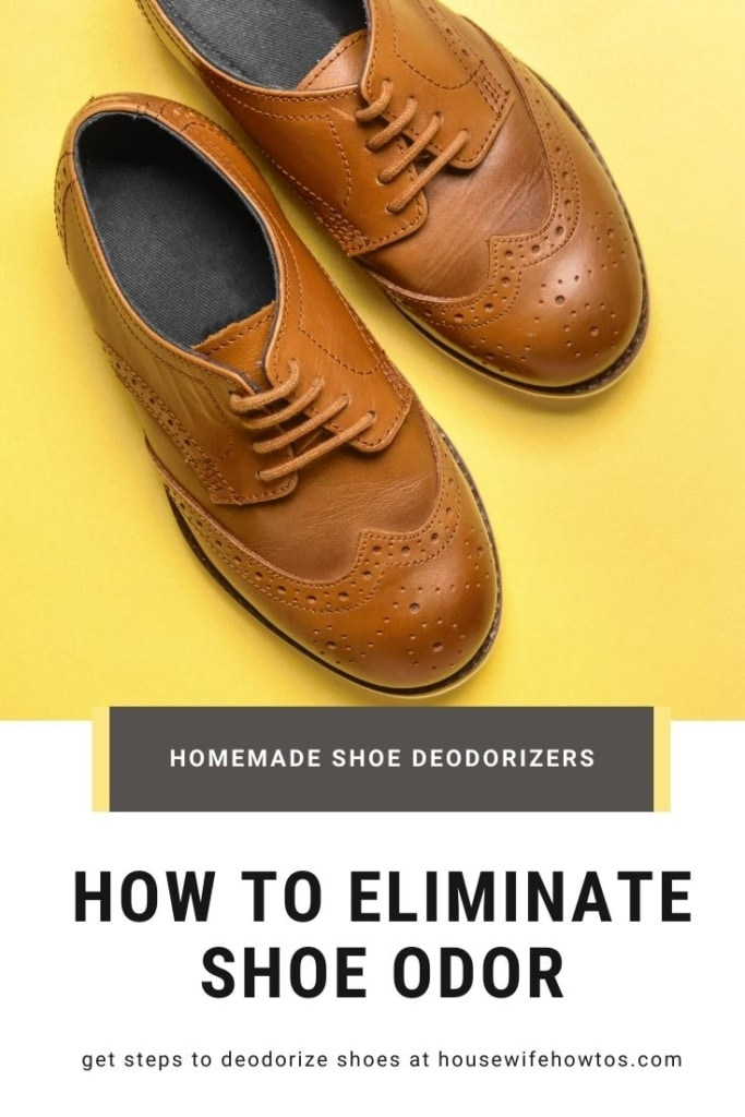 """Overhead view of a pair of men's lace-up dress shoes with a text overlay that reads """"How to Eliminate Shoe Odor"""""""