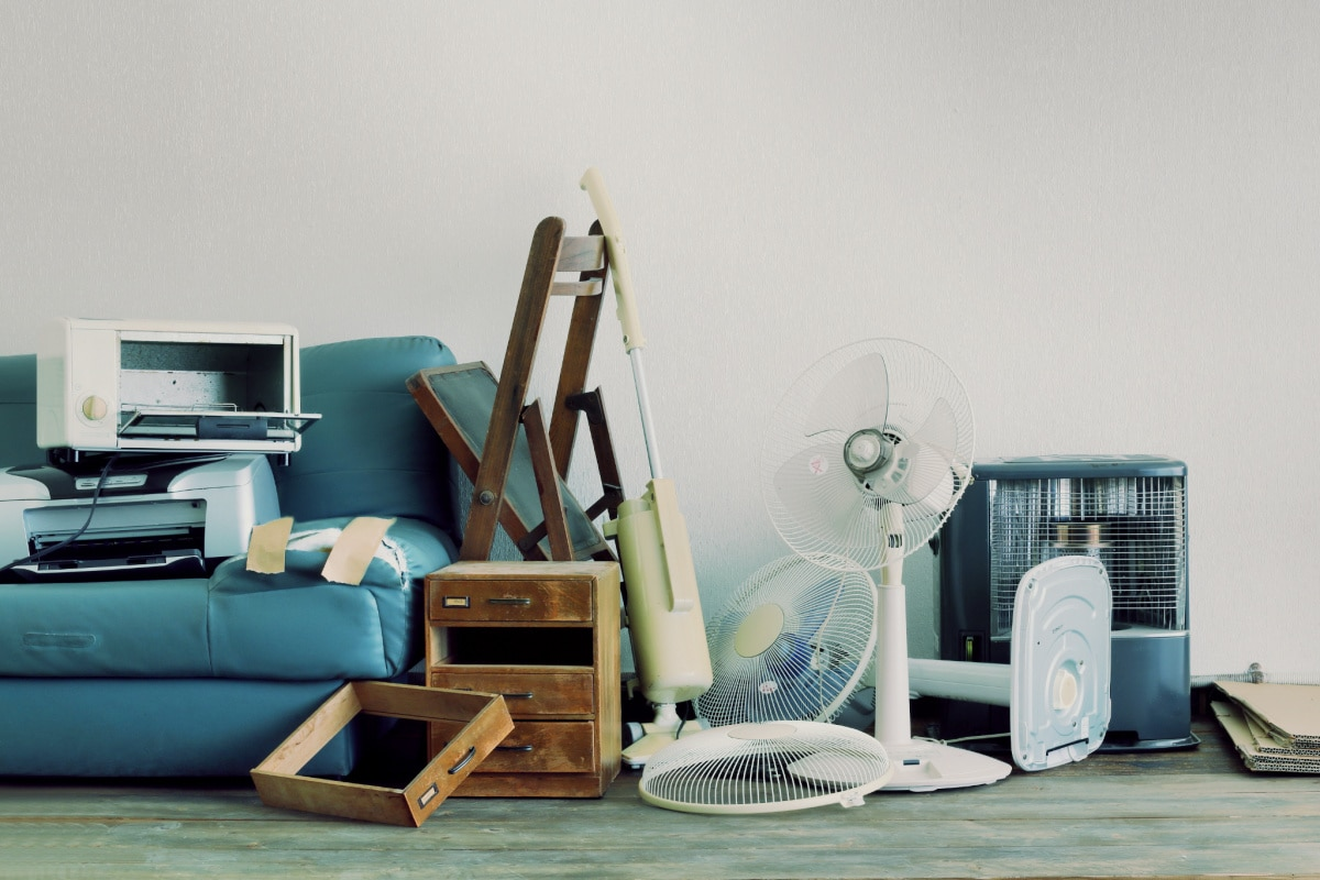 Random household objects in a cluttered living room
