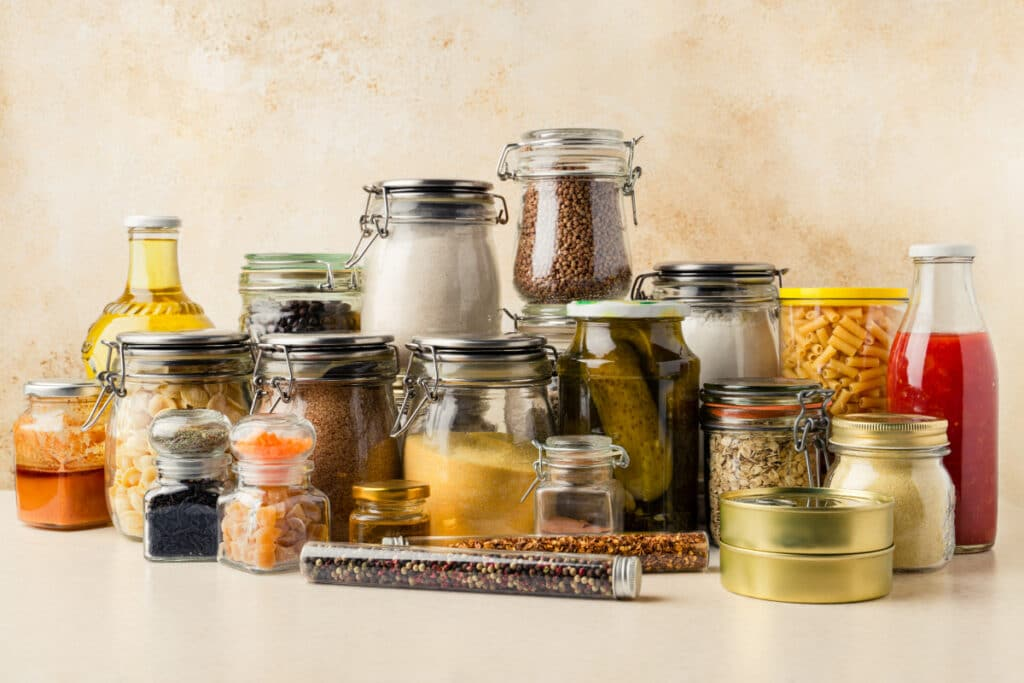 Pantry items repackaged into air-tight containers to protect against pests