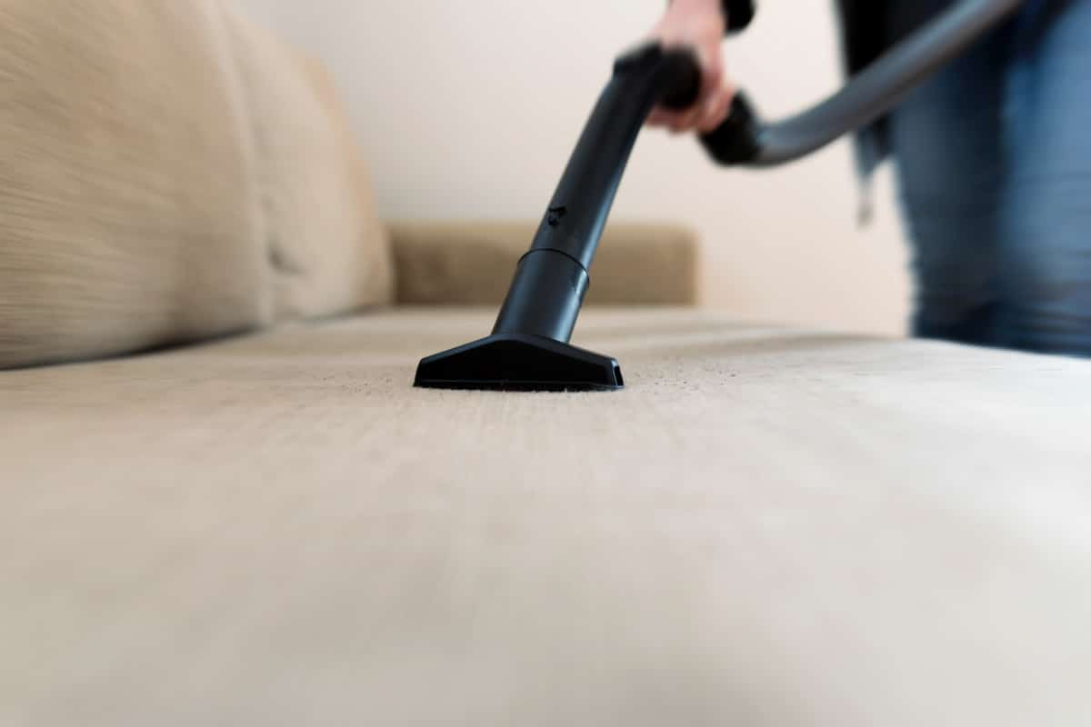 Person using upholstery attachment on vacuum to clean sofa