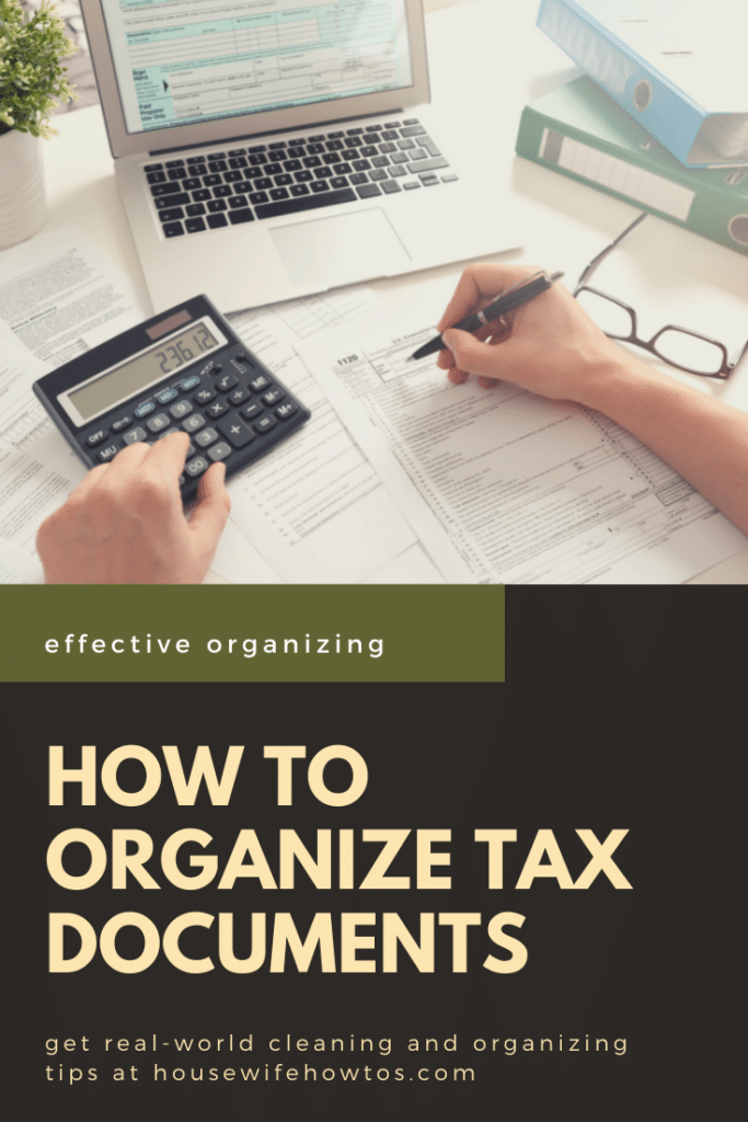 """Person doing taxes at a desk. A text overlay reads """"How to organize tax documents"""""""