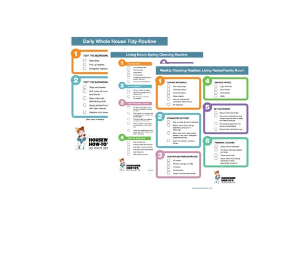 Stacked images of printable house cleaning checklists