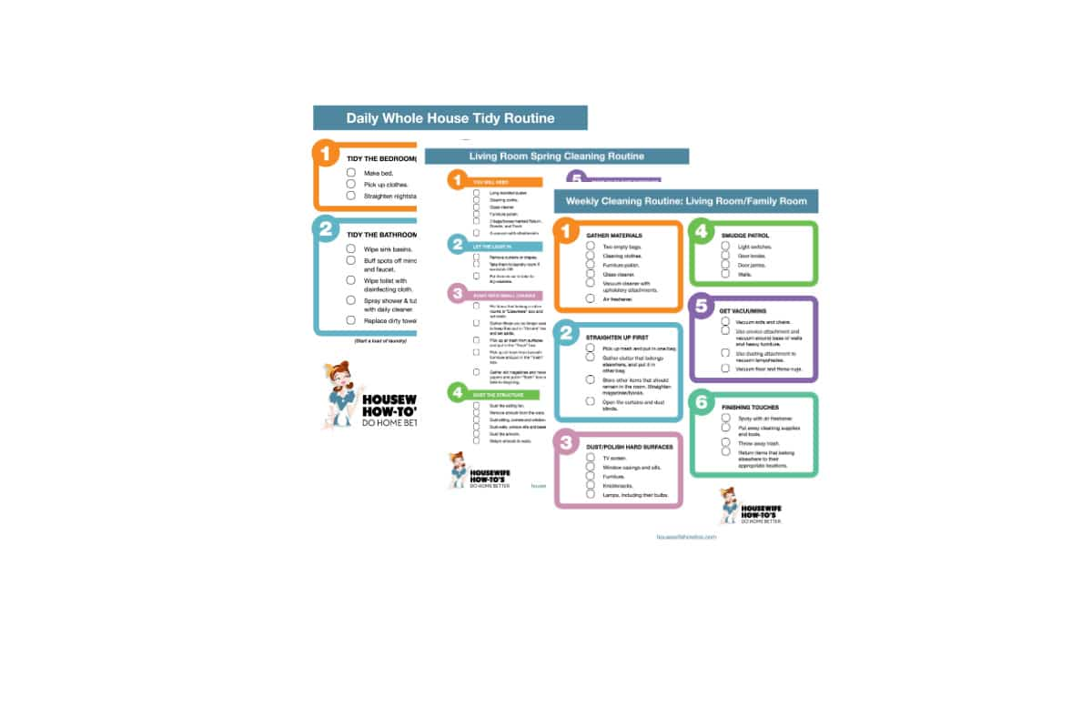 Image of three free printable house cleaning checklists stacked on each other
