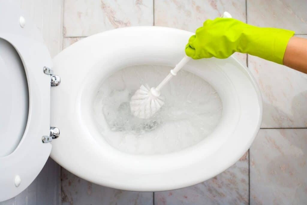 Overhead view of hand in rubber glove using brush to clean a smelly toilet