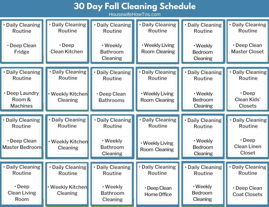 30 Day Fall Cleaning Schedule for Home