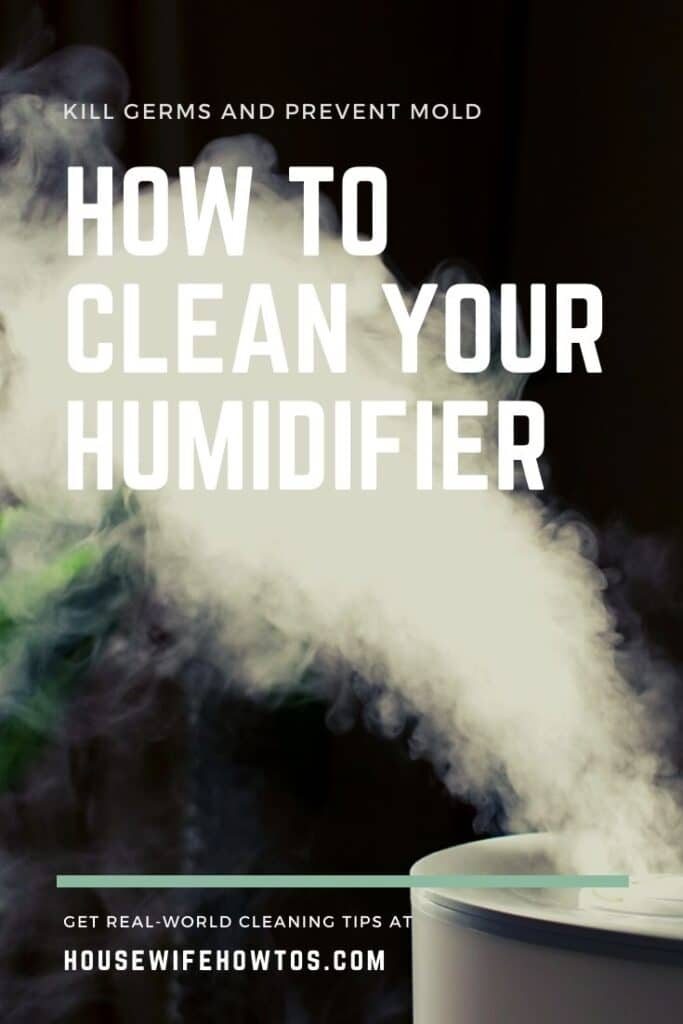 """A portable humidifier adding vapor to air and misting plant. Text overlay reads: """"how to clean your humidifier - get rid of germs and mold"""""""